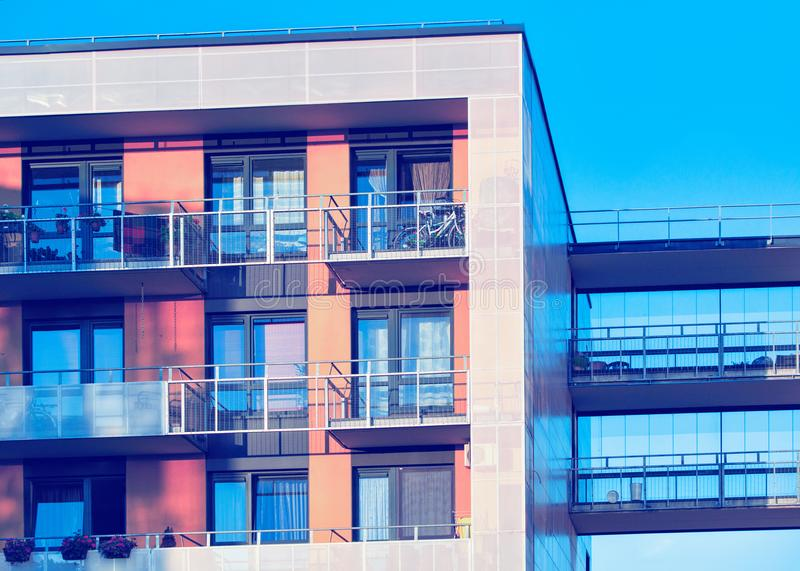 Detail of modern apartment residential building with balconies Vilnius. Detail of complex of modern apartment residential building with balconies, Vilnius stock image