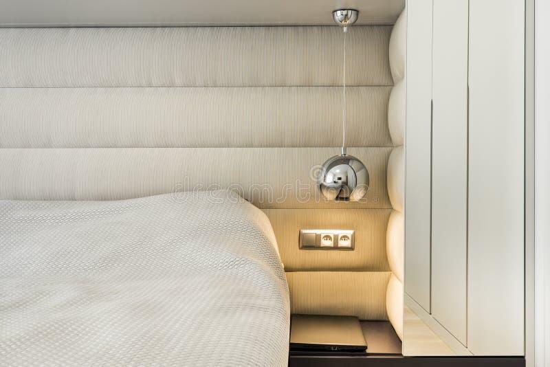 Detail of modern bedroom stock photos