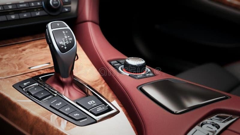 Detail of modern car interior gear stick automatic transmission stock illustration