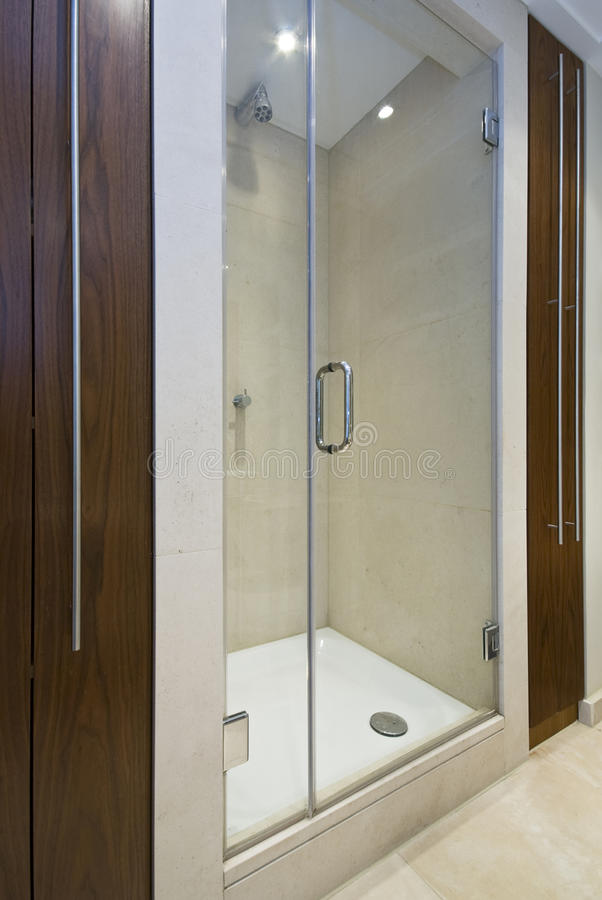 Detail of a modern en-suite shower royalty free stock photos