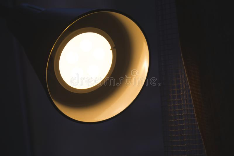 The detail of the modern lamp lighting in the evening royalty free stock photos