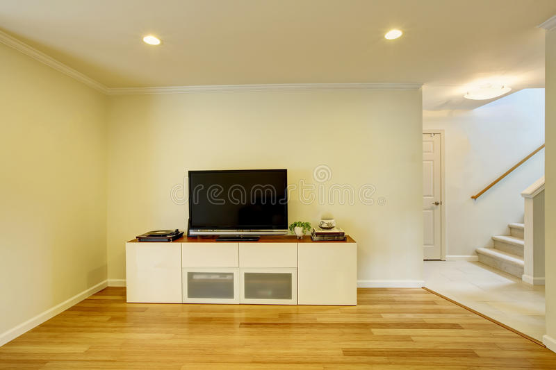 Detail of modern living-room - wall with TV. Northwest, USA royalty free stock photos