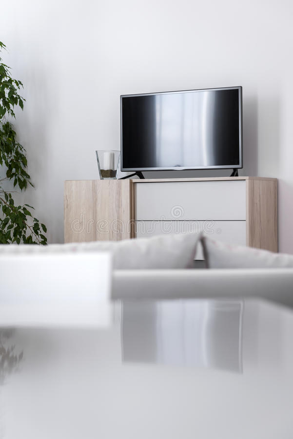 Detail of modern living-room - wall with TV. Set royalty free stock image