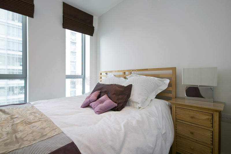 Detail of a modern luxury bedroom stock image