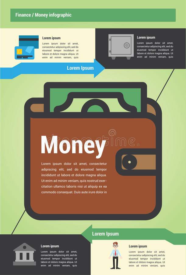 Detail modern Money infographic. Infographic about money and finance with vector illustrations stock illustration