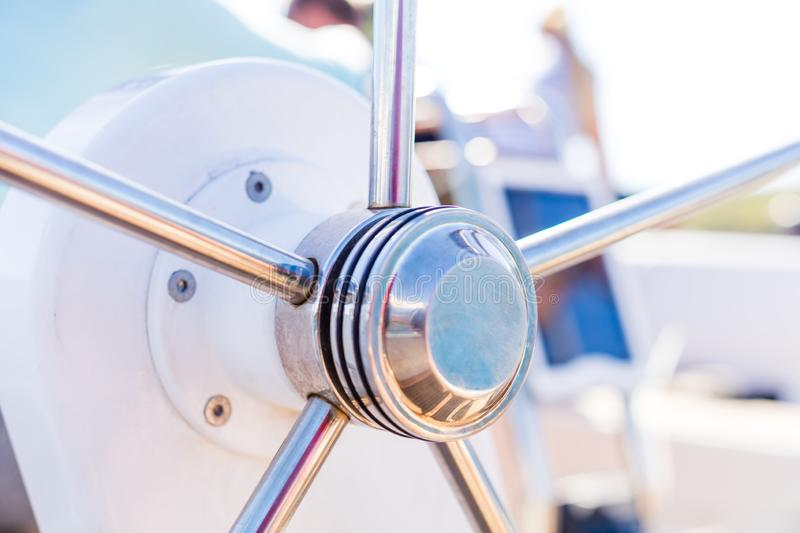 Detail of modern sailing yacht steering wheel stock images