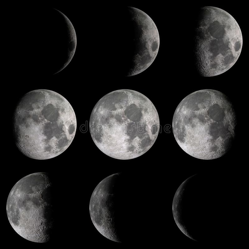 Moon phases detail. Detail on moon phases over a black background. Elements of this image furnished by NASA. 3d render, 3d illustration stock illustration