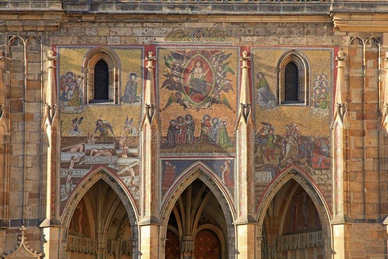 Detail of mosaic on Cathedral of St. Vitus, Prague stock image