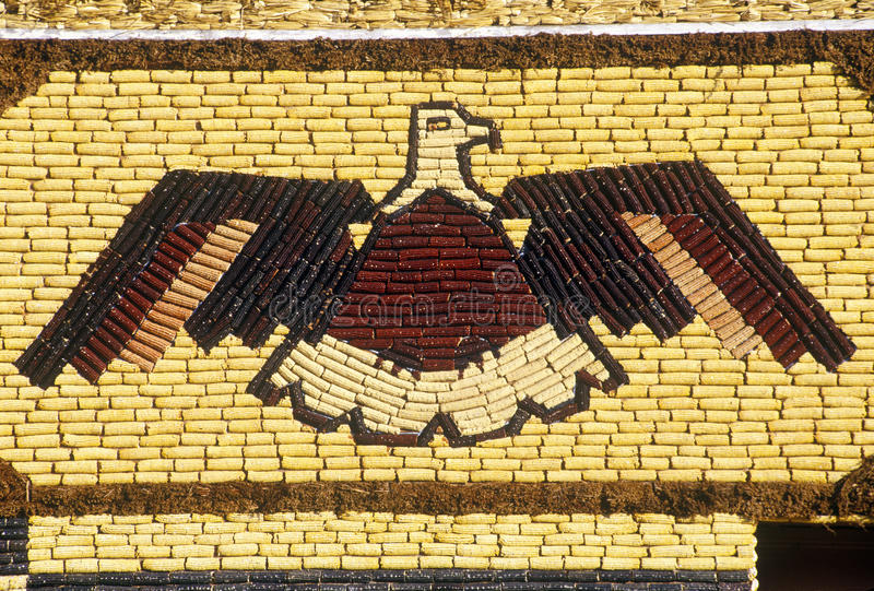 Detail of mosaic on Corn Palace, roadside attraction in West Mitchell, SD royalty free stock photos