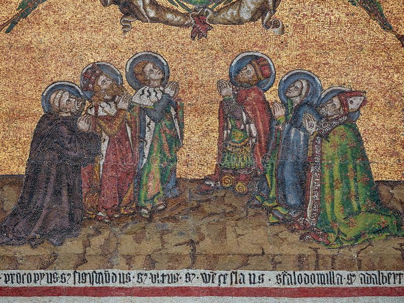 Detail of the Mosaic on the Golden Gate of Saint Vitus Cathedral in Prague, Czech Republic. Six Czech patron saints - stock photography