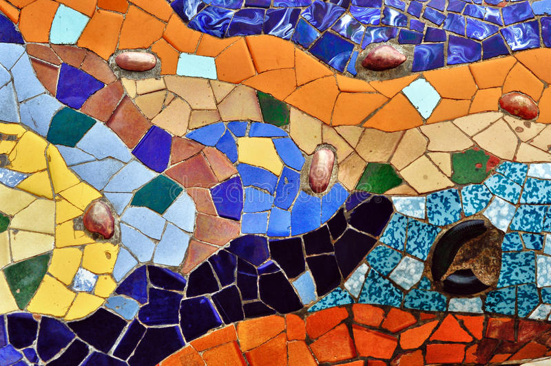 Detail of mosaic in Guell park in Barcelona royalty free stock photo