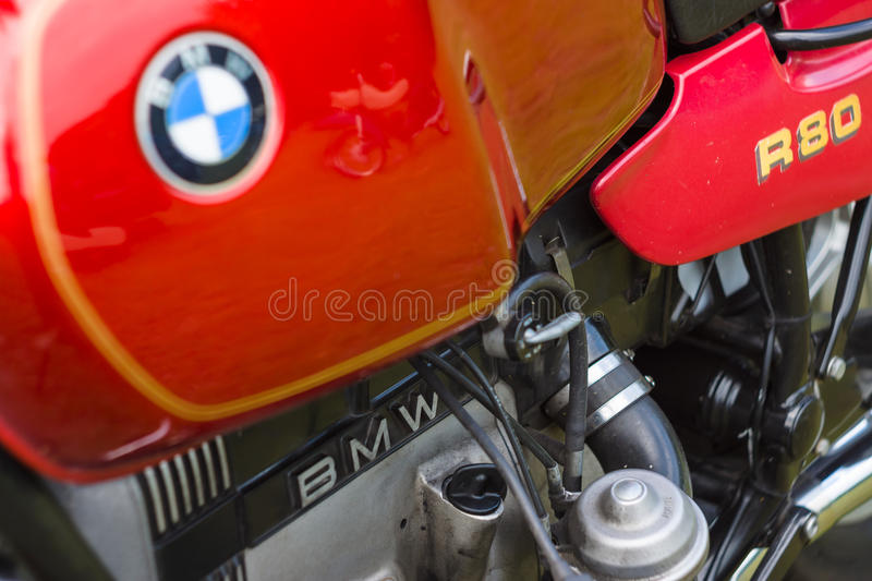 Detail of motorcycle BMW R80 stock photos