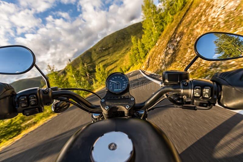 Detail of motorcycle handlebars. Outdoor photography, Alpine lan royalty free stock photos