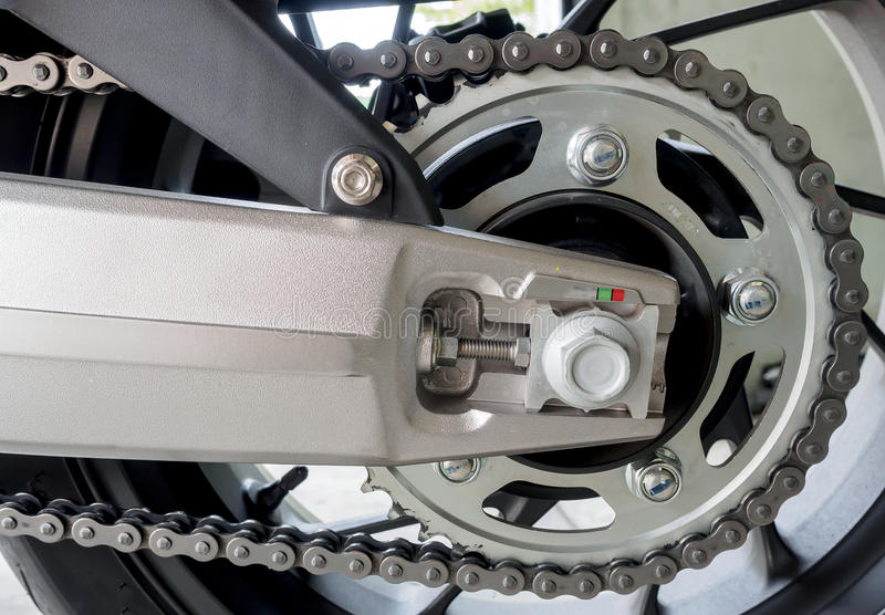 Detail of a motorcycle rear chain stock image