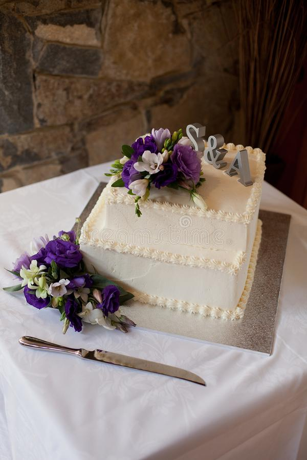 Detail of a multi tiered wedding cake royalty free stock images