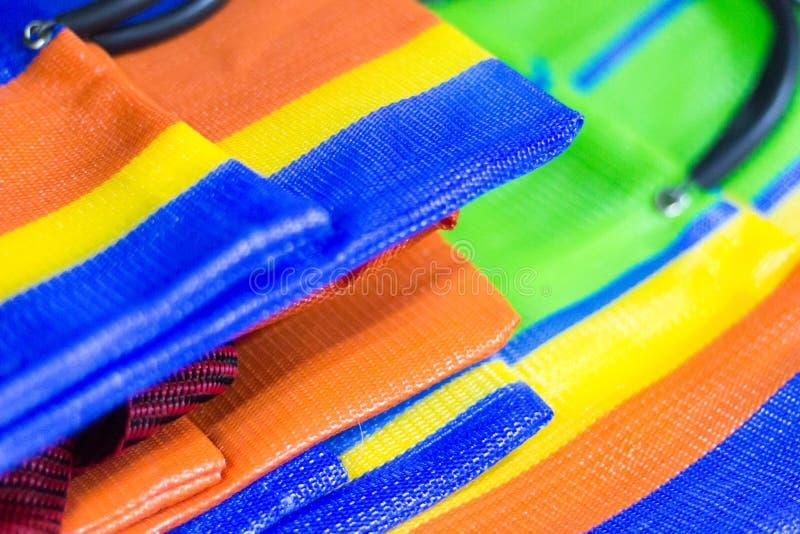 Detail of multicolored nylon bags. Saara, Rio de Janeiro, Brazil. 2019 royalty free stock photos