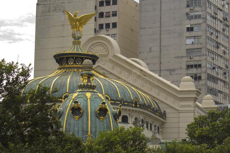 Detail of the Municipal theater. This is the Opera and ballet theatre in Rio de Janeiro. It was built in 1907. royalty free stock images