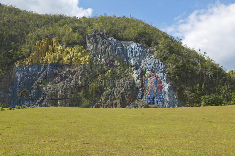 Detail of Mural de la Prehistoria commissioned by Che Guevara in the Valle de Vinales, in central Cuba royalty free stock image