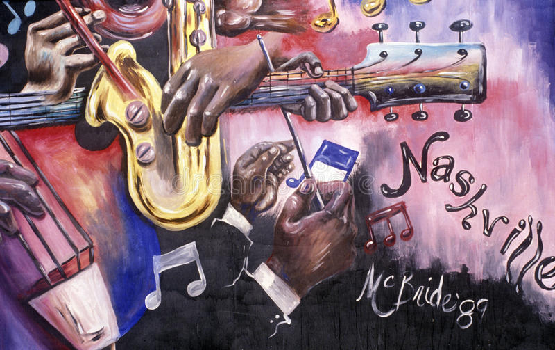 Detail of mural depicting music scene in Nashville, TN stock photos