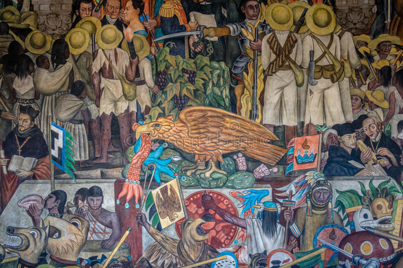 Detail of Mural The History of Mexico by Diego Rivera at National Palace - Mexico City, Mexico. MEXICO CITY, MEXICO - Oct 12, 2016: The stairs of National Palace royalty free stock images
