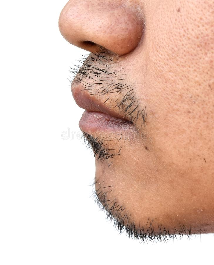 Mustache face of asian man on white background royalty free stock photography