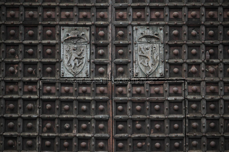 Detail of the Naples cathedral doors royalty free stock photos