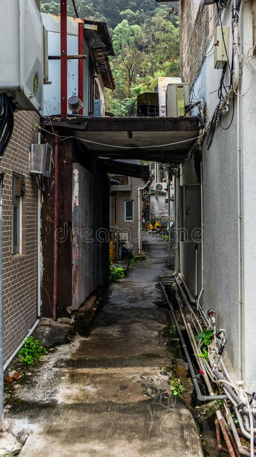 Detail of the narrow alleys of the walled village of Tsang Tai Uk also known as Shan Ha Wai in the Honk Kong New Territories - 8. Detail of the narrow alleys of stock photo