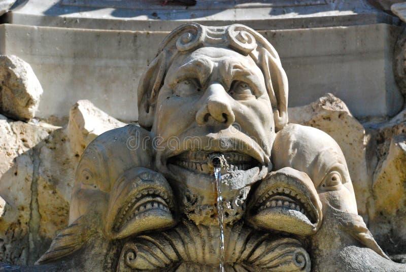 Detail of Neptun's Fountain, Piazza Navona, Rome royalty free stock image