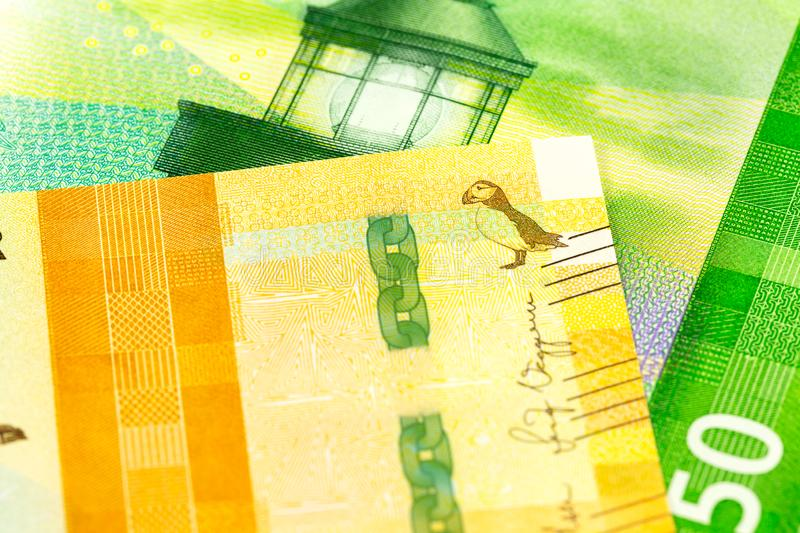 Detail of a new 500 an a 50 norwegian krone banknote obverse stock photos