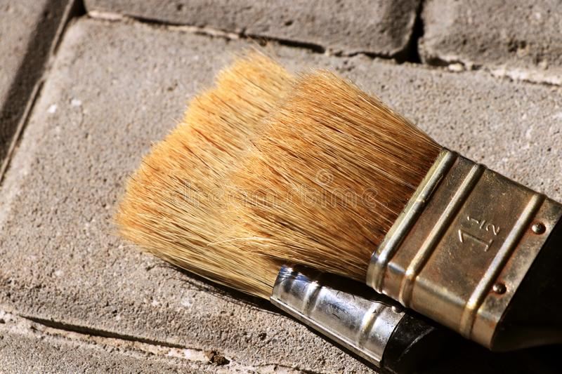 A detail for new two brushes for painting wall, wood board and others. It is basic thing for painter stock photography