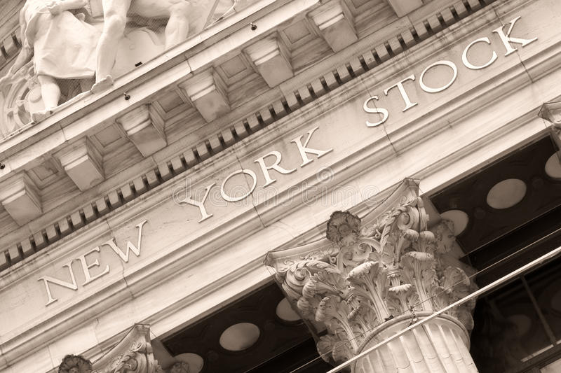 Detail of the New York Stock Exchange at Wall Street in New York. Detail of the New York Stock Exchange building at Wall Street in New York City royalty free stock image