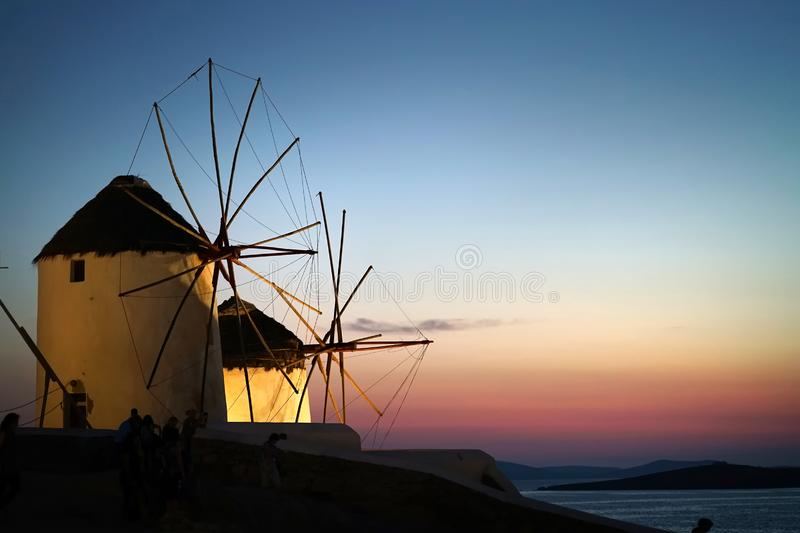 Detail night view of windmills in Chora, Mykonos, Cyclades royalty free stock image