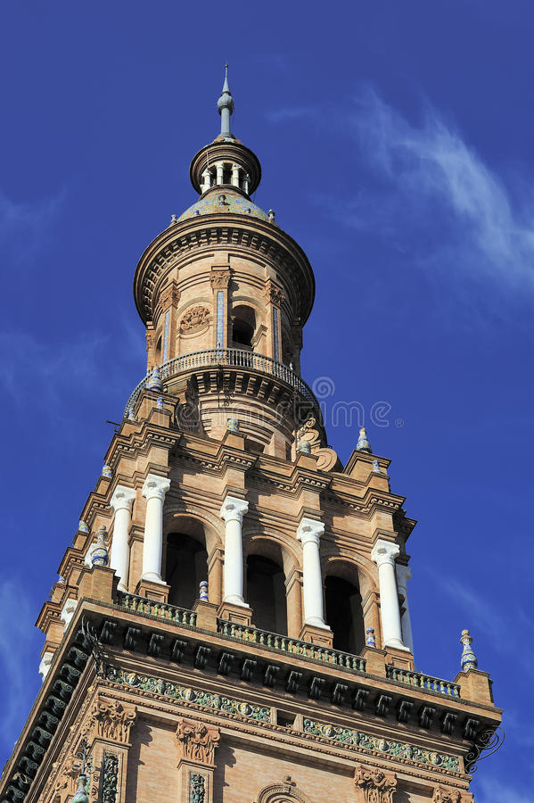 North Tower at The Plaza de Espana (Spain Square), Seville, Spain. Detail of North Tower at The Plaza de Espana (Spain Square), Seville, Spain royalty free stock images