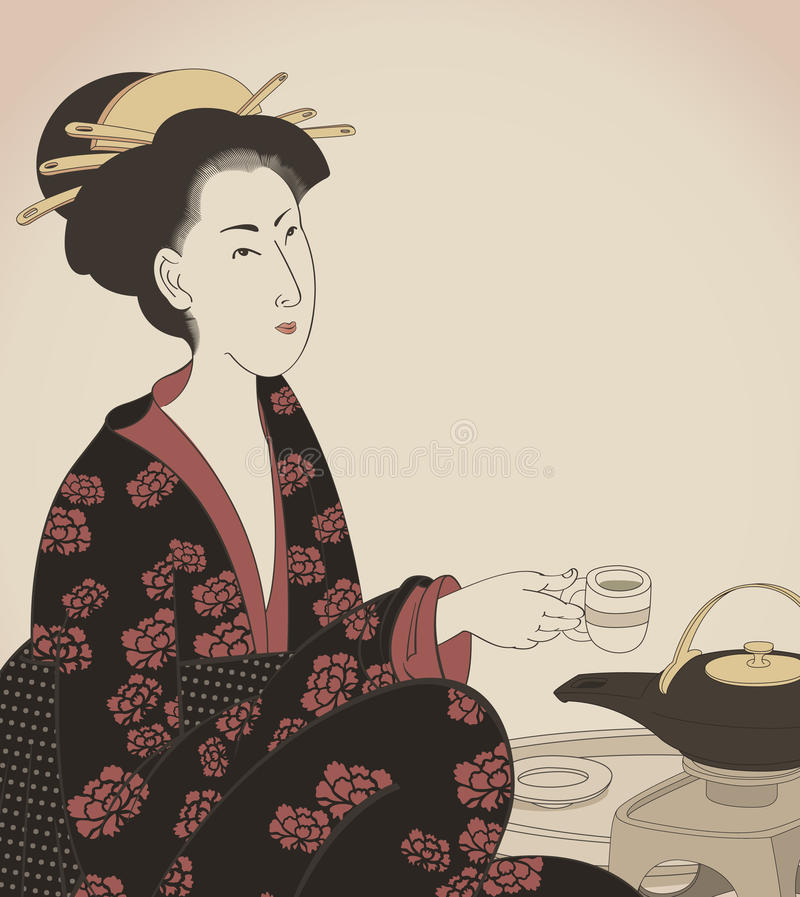 Free Detail Of A Woman Drinking Tea- Japanese Style Dra Stock Photography - 13294582