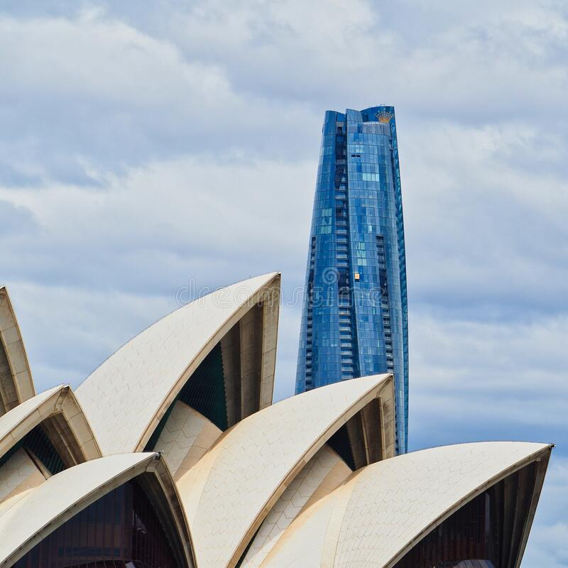 Free Detail Of Sydney Opera House Sails And Modern Tall Tower, Australia Royalty Free Stock Images - 204685349