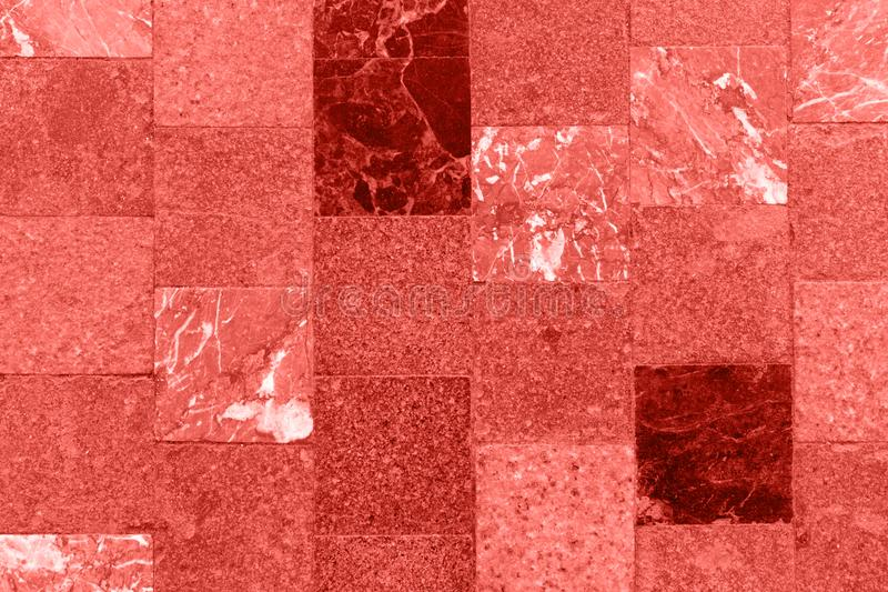 Detail of old abstract ceramic mosaic background. Coral color concept.  stock image
