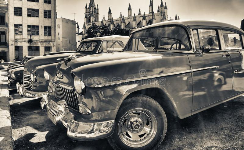 detail of old american car parked in a street stock images