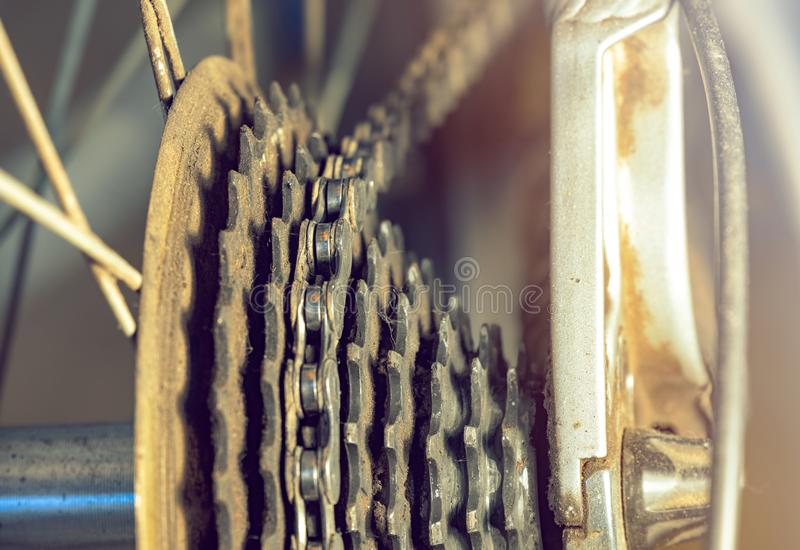 Detail of an Old Rusted Bicycle Freewheel with Chain stock images