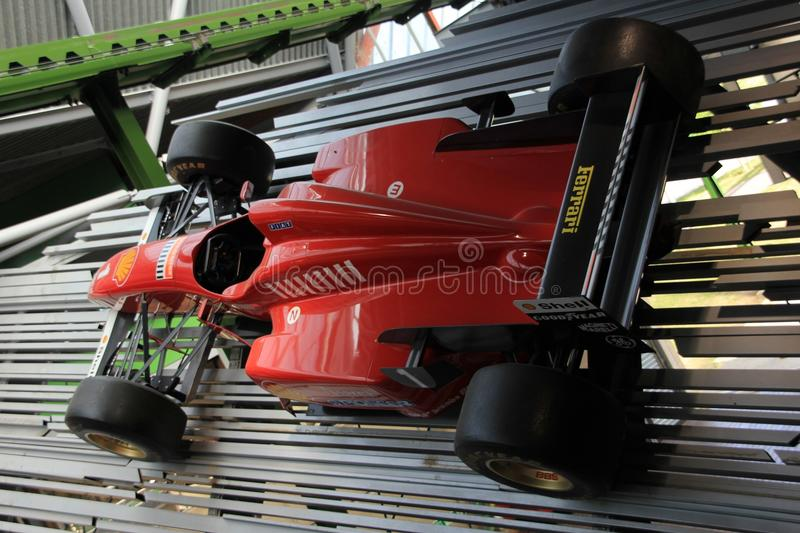 Detail of an old Formula one car, Ferrari in England in the summer. Detail of an old Formula one car, Ferrari in the National Motor Museum in Beaulieu in the royalty free stock photography