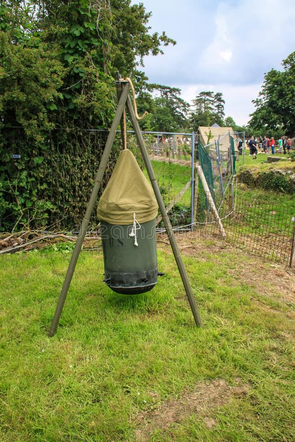 Detail of old loudspeaker. Recreation of used in the Second World War by the American army in Normandy stock photo