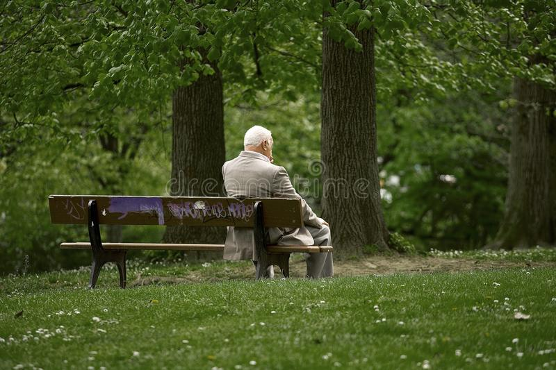 Detail of an old man resting in a park. royalty free stock photos