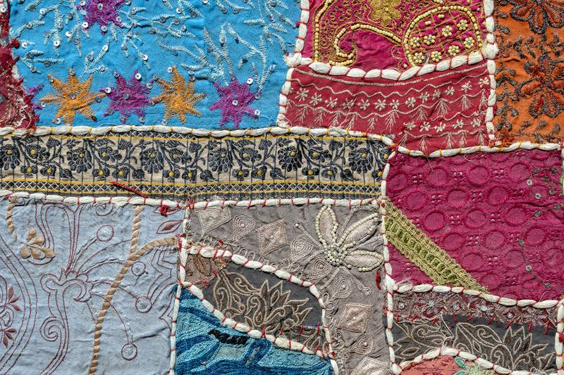 Detail old patchwork carpet. Close up, top view royalty free stock photos