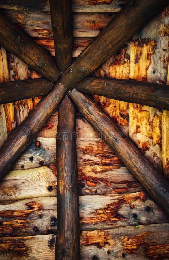 Detail of the old roof shack. Background or texture Interior detail of the old roof shack royalty free stock photos