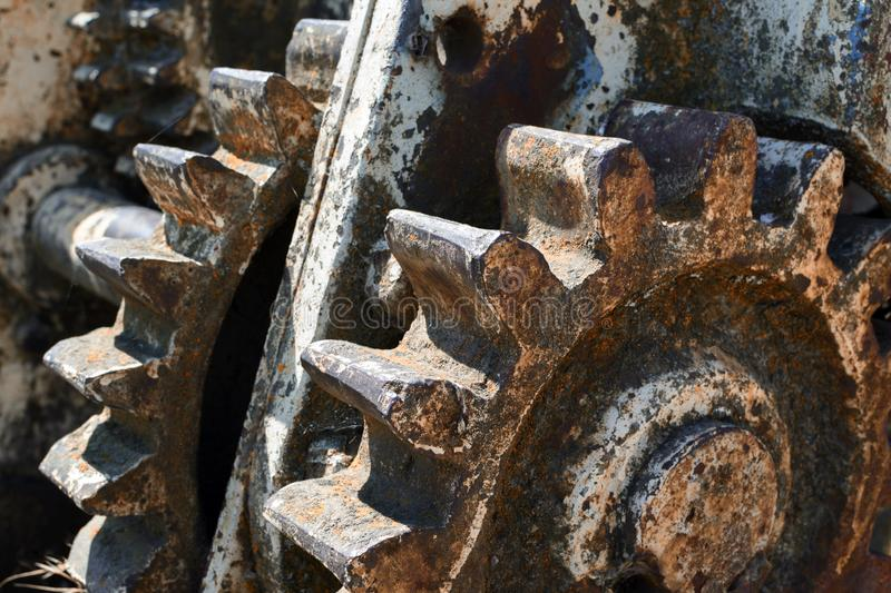 Old gears attacked by rust stock photos