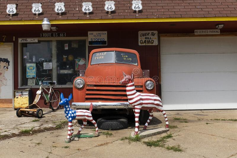 Detail of The Old Service Station along the historic route 66 in Williamsville. Williamsville, Illinois, USA - July 5, 2014: Detail of The Old Service Station royalty free stock photography