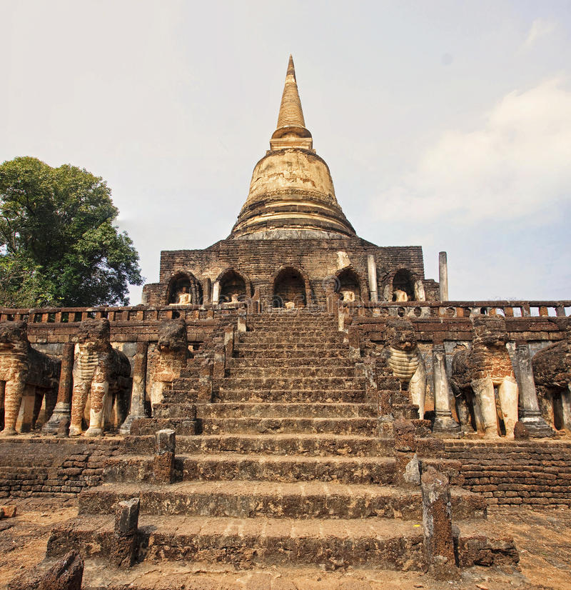Detail of an old temple in Si Satchanalai royalty free stock photography