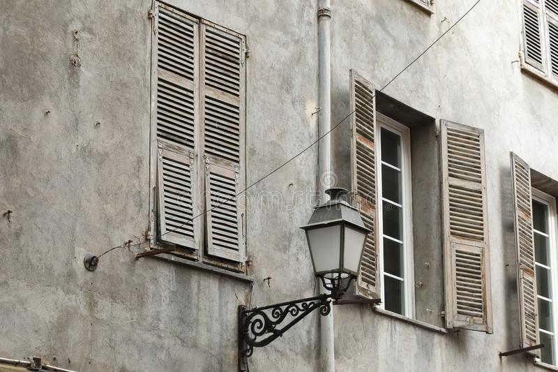 Detail of old town architecture in Nice royalty free stock photos