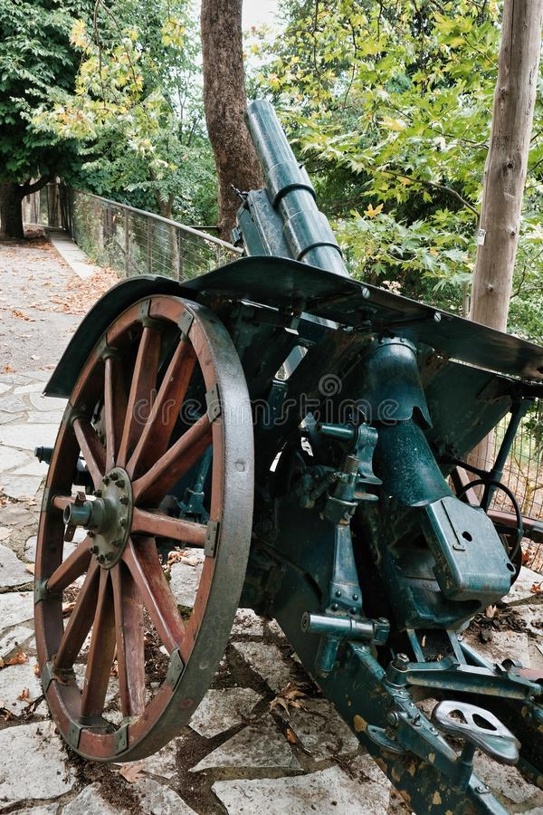 Detail of an Old Wheeled Artillery Canon, Greece royalty free stock images