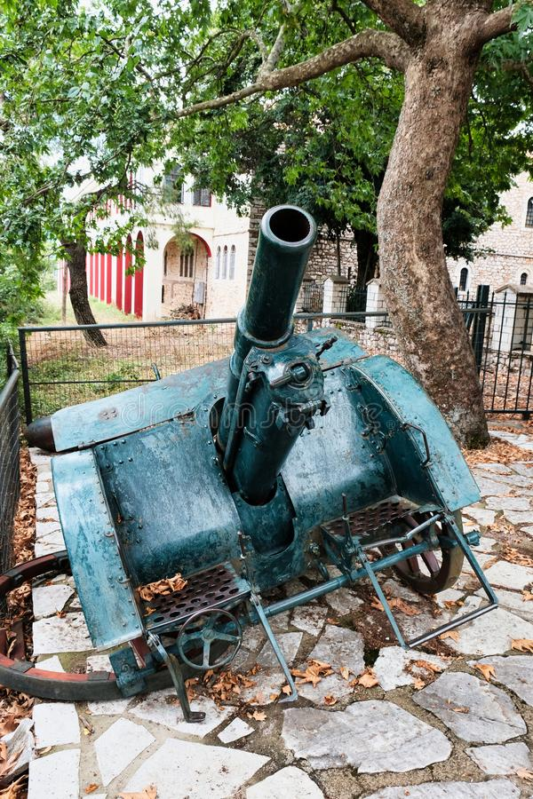 Detail of an Old Wheeled Artillery Canon, Greece royalty free stock photo