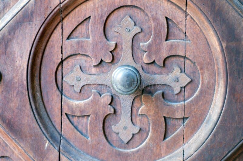 Detail of an old wooden door stock image
